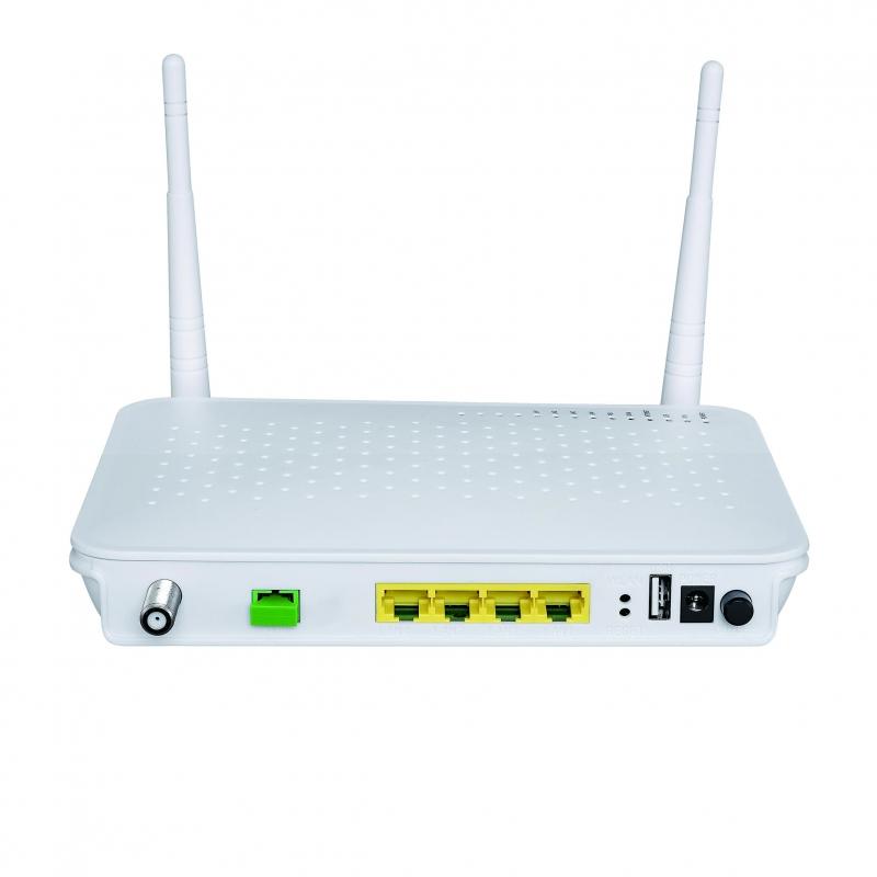 兼容上海贝尔ONU光猫设备;4GE+CATV+WIFI EPON